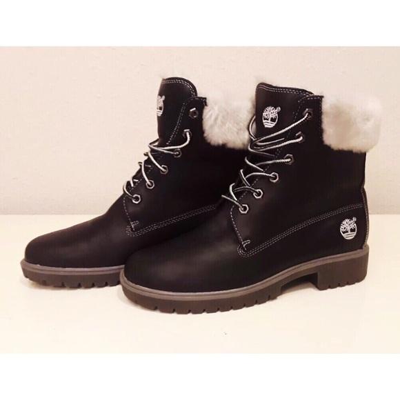 Black Leather Faux Fur Boots Sz